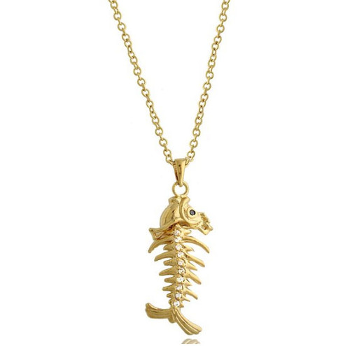 Fishbone Charm Brass Pendant Necklace
