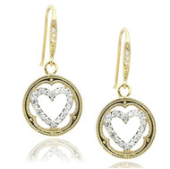 Pave CZ Framed Heart Rhodium Plated Brass Dangling Earrings