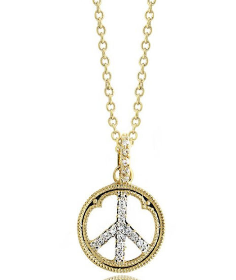 "Two tone Pave CZ Peace Sign 14K Gold Plated Brass Pendant Necklace on 16"" - 18"" chain"