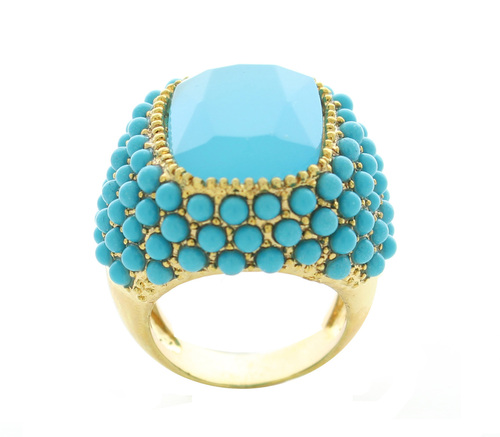 Turquoise and Gold Dotted Ring