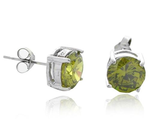 Green CZ Stud Earrings