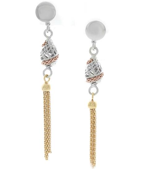 Sterling Silver Tricolor Tassel Earrings