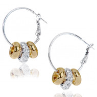 Two-Tone Hoop With Sliders Earrings Made With Clear Crystals From Swarovski