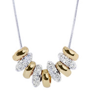 Two-Tone Sliders Necklace AccentedWith Clear Crystals from Swarovski