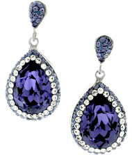 Pear Shape Drop Earrings Made With Tanzanite and Clear Crystals from Swarovski