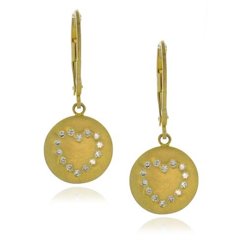 Sterling Silver .925 Round Heart CZ Dangling Earrings