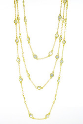 Gold Plated CZ Yard Wrap Necklace, 40""