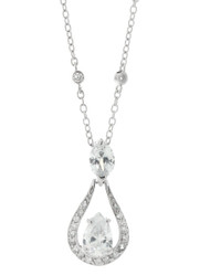 Sterling Silver Pear CZ Clear Almond Necklace