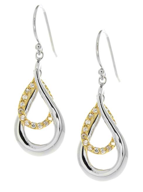 Sterling Silver 925 Double Teardrop Twist Gold Plated CZ Earrings