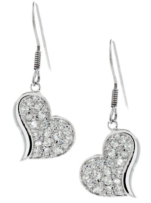 Sterling Silver CZ Pave Heart Dangling Earrings