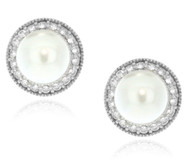 Sterling Silver 925 CZ Pave Outline Pearl Stud Earrings