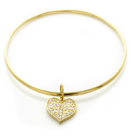 Gold Plated CZ Heart Chamr Bangle Bracelet