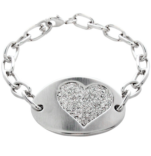 Swarovski Element Oval Heart Crystal Tag Braeclet