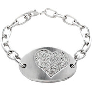 Oval Tag Bracelet With Heart Accent  Made with Clear Crystals from Swarovski