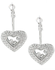 Pave Heart Drop Hoop Earrings Made with Clear Crystals from Swarovski