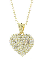 Swarovski Element Gold Tone Pave Heart Necklace