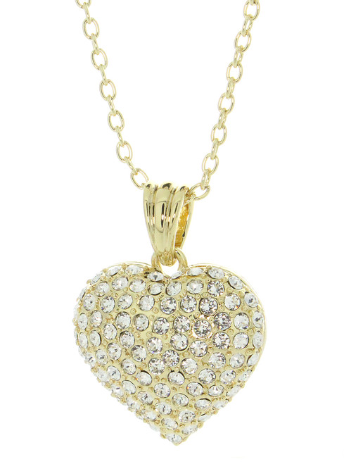 Gold Tone Heart Necklace Made With Pave Clear Crystals from Swarovski