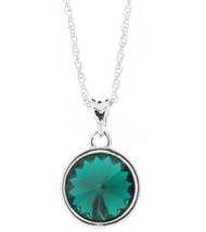 Swarovski Element 13 mm Round Emerald Necklace