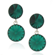 Double Round Drop Earrings Made With Emerald Crystal From Swarovski
