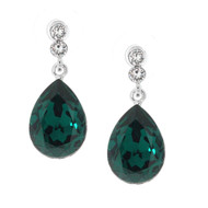 Teardrop Dangle Earrings Made With  Emerald and Clear  Crystals from Swarovski