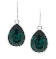Pear Shape Drop Sterling Silver Earrings Made With Emerald Crystal from Swarovski