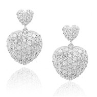 Pave CZ Puffy Hearts Rhodium Plated Drop Earrings