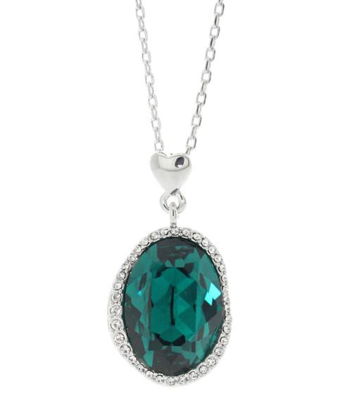 Swarovski Element Halo Pave Emerald Necklace
