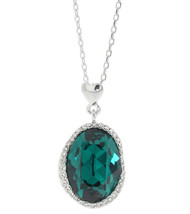 Oval Shape Halo Necklace Made With Emerald and Clear Crystals from  Swarovski