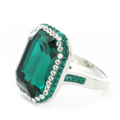 Swarovski Element Halo Pave Rectangle Emerald Ring