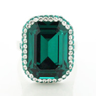 Pave and Rectangle Ring Made With Emerald Crsytal from Swarovski