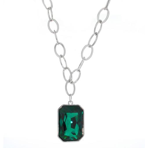 Rectangle Swarovski Element Emerald Necklace