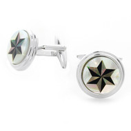 Silver Tone Shell Start Round Cuff Links