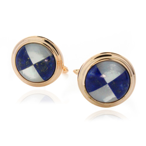 Rose Gold Tone Lapis Round Cuff Links