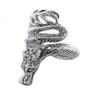 Artune Online Jewelry Sterling Silver 925 Wrapped Dragon Men's Ring