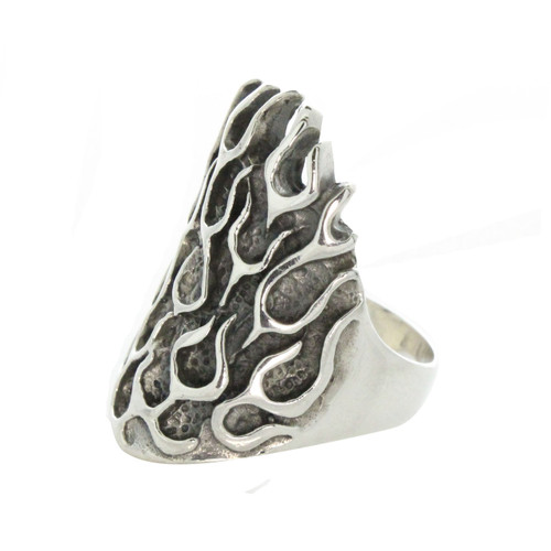 Sterling Silver 925 Fire Flames Men's Ring