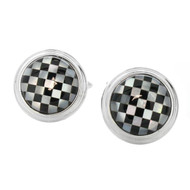 Silver Tone Shell Round Checkered Cuff Links