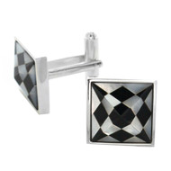 Silver Tone Shell Checkered Pyramid Cut Cuff Links