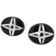 Silver Tone Shell Star Oval Cuff Links