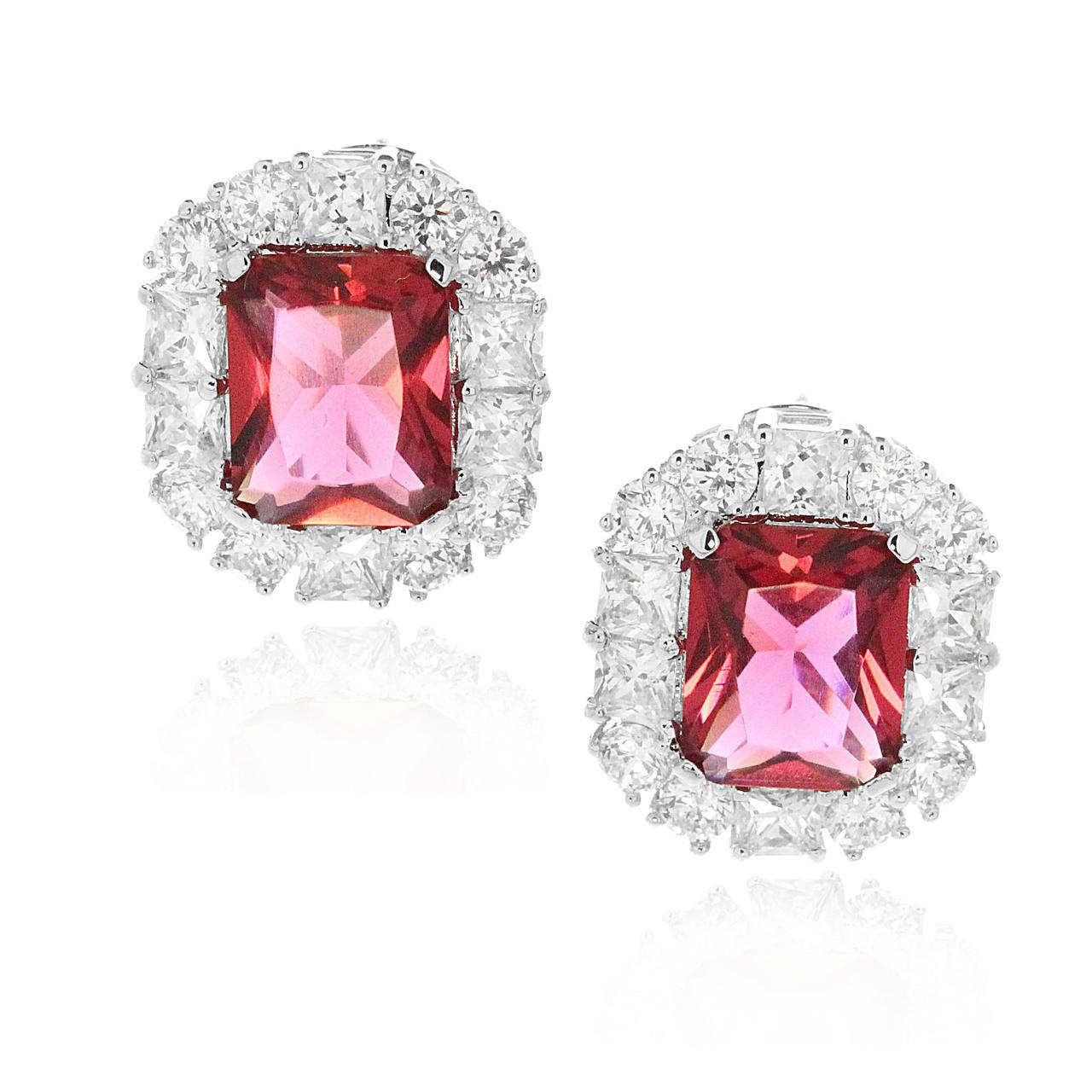 Engagement, Halo Bridal Stud Earrings Cushion Cut 2.00 CT Rainbow Fire Topaz CZ Round Simulated Diamond 925 Sterling Silver Wedding