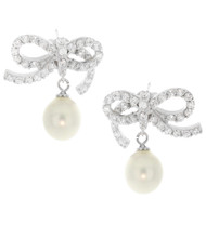 Artune Online Jewelry Sterling Silver Pearl CZ Bow Stud Earrings