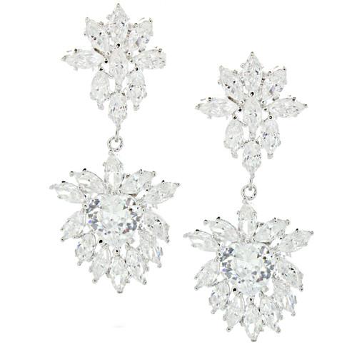 Sterling Silver Cluster Drop Luxury Bridal Earrings