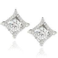 Sterling Silver Square Pave CZ Luxury Bridal Earrings