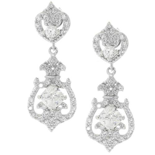 Sterling Silver Art Deco Drop Luxury Bridal Earrings