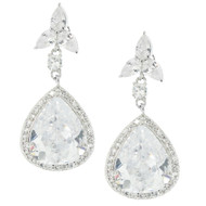 Rhodium Plated Drop Pear Design Luxury Bridal Earrings