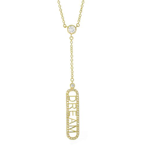 "14K Gold Plated ""Dream"" CZ Pave Charm Pendant Y-Necklace"
