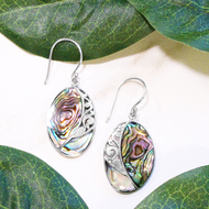 Sterling Silver Oval Abalone Drop Bali Earrings