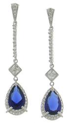 Pear Shape Drop Sim Sapphire Sterling Silver Earring