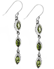 Sterling Silver .925 Bali Marquise Peridot Drop Earrings