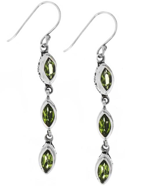 Sterling Silver .925 Bali Marquise Peridot Drop Earrings