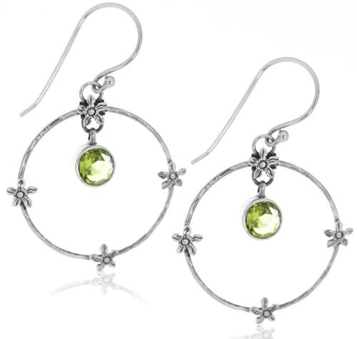 Sterling Silver .925 Flower Hoop Peridot Drop Earrings